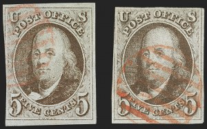 Sale Number 1230, Lot Number 1695, 1847 Issue (Scott 1-2)5c Red Brown (1), 5c Red Brown (1)