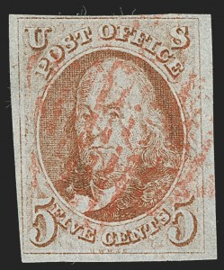 Sale Number 1230, Lot Number 1696, 1847 Issue (Scott 1-2)5c Red Brown, Brown, Orange Brown (1-1b), 5c Red Brown, Brown, Orange Brown (1-1b)