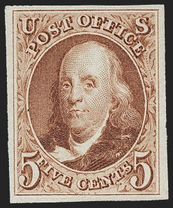 Sale Number 1230, Lot Number 1705, 1875 Reproduction of 1847 Issue (Scott 3-4)5c Red Brown, Reproduction (3), 5c Red Brown, Reproduction (3)