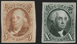 Sale Number 1230, Lot Number 1709, 1875 Reproduction of 1847 Issue (Scott 3-4)5c Red Brown, 10c Black Reproductions (3, 4), 5c Red Brown, 10c Black Reproductions (3, 4)