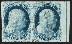 Sale Number 1230, Lot Number 1720, 1851-56 Issue (Scott 5-17)1c Blue, Ty. IV (9), 1c Blue, Ty. IV (9)