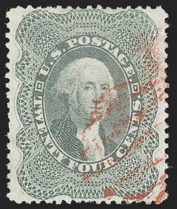 Sale Number 1230, Lot Number 1762, 1857-60 Issue (Scott 18-39)24c Gray Lilac (37), 24c Gray Lilac (37)