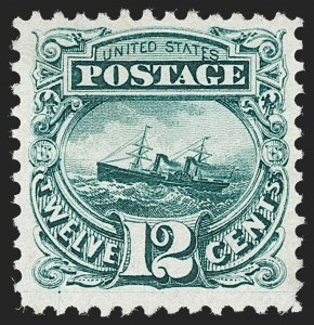 Sale Number 1230, Lot Number 1840, 1875 Re-Issue of 1869 Pictorial Issue (Scott 123-133a)12c Green, Re-Issue (128), 12c Green, Re-Issue (128)