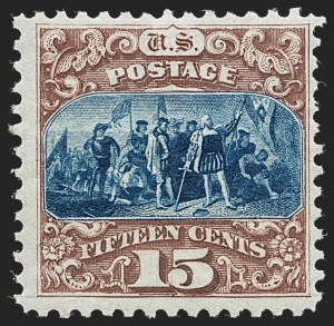 Sale Number 1230, Lot Number 1842, 1875 Re-Issue of 1869 Pictorial Issue (Scott 123-133a)15c Brown & Blue, Re-Issue (129), 15c Brown & Blue, Re-Issue (129)