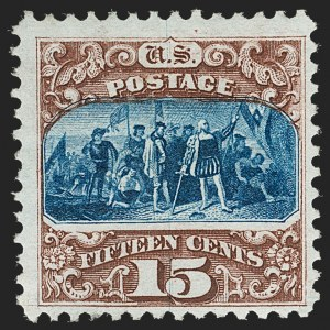 Sale Number 1230, Lot Number 1845, 1875 Re-Issue of 1869 Pictorial Issue (Scott 123-133a)15c Brown & Blue, Re-Issue (129), 15c Brown & Blue, Re-Issue (129)