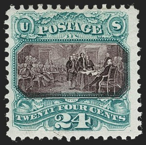 Sale Number 1230, Lot Number 1846, 1875 Re-Issue of 1869 Pictorial Issue (Scott 123-133a)24c Green & Violet, Re-Issue (130), 24c Green & Violet, Re-Issue (130)