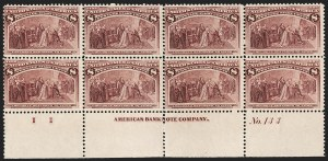 Sale Number 1230, Lot Number 1895, 1893 Columbian Issue (Scott 230-245)8c Columbian (236), 8c Columbian (236)