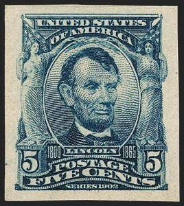 Sale Number 1230, Lot Number 1959, 1902-08 Issues (Scott 300-320)5c Blue, Imperforate (315), 5c Blue, Imperforate (315)