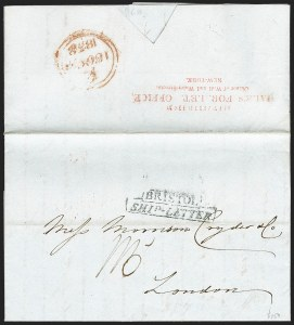 Sale Number 1230, Lot Number 501, Hale's Foreign Letter Office, 1838-1842 Forwarded from/Hale's For. Let. Office,/Corner of Wall and Water Streets, New-York, Forwarded from/Hale's For. Let. Office,/Corner of Wall and Water Streets, New-York