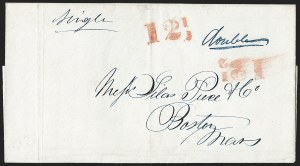 "Sale Number 1230, Lot Number 756, Hale & Co: New Jersey and New YorkRed ""12-1/2"" Collect Handstamp (Ty. C17), Red ""12-1/2"" Collect Handstamp (Ty. C17)"
