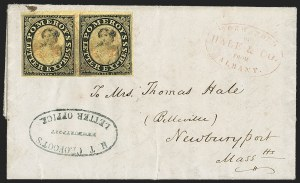 Sale Number 1230, Lot Number 800, Hale & Co: New Jersey and New YorkPomeroy's Letter Express, 5c Black on Yellow Surface-Colored Paper (117L1), Pomeroy's Letter Express, 5c Black on Yellow Surface-Colored Paper (117L1)