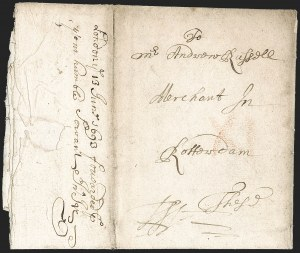 Sale Number 1230, Lot Number 968, Colonial and 18th CenturyBoston to Rotterdam, Holland, February 11, 1693, Boston to Rotterdam, Holland, February 11, 1693