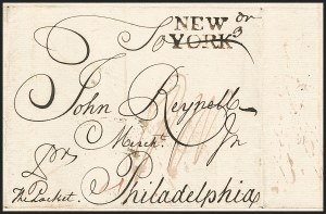 "Sale Number 1230, Lot Number 977, Colonial and 18th Century(Falmouth-New York Packet, 1756) ""NEW/YORK"", (Falmouth-New York Packet, 1756) ""NEW/YORK"""