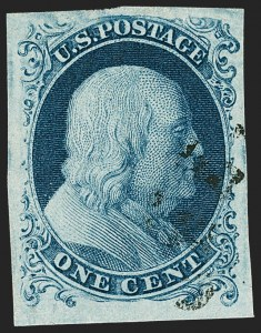 Sale Number 1231, Lot Number 11, 1851-56 Issue (Scott 5-17)1c Blue, Ty. Ia (6), 1c Blue, Ty. Ia (6)