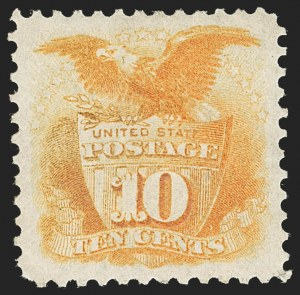 Sale Number 1231, Lot Number 131, 1875 Re-Issue of 1869 Pictorial Issue (Scott 123-133a)10c Yellow, Re-Issue (127), 10c Yellow, Re-Issue (127)