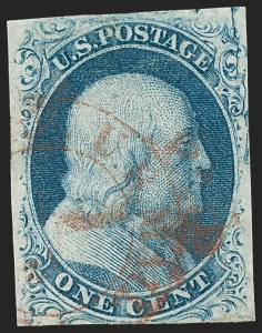 Sale Number 1231, Lot Number 16, 1851-56 Issue (Scott 5-17)1c Blue, Ty. II, Plate Crack (7 var), 1c Blue, Ty. II, Plate Crack (7 var)