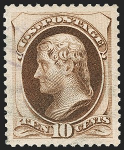 Sale Number 1231, Lot Number 165, 1879-83 American Bank Note Co. Issues (Scott 182-218)10c Brown, With Secret Mark (188), 10c Brown, With Secret Mark (188)