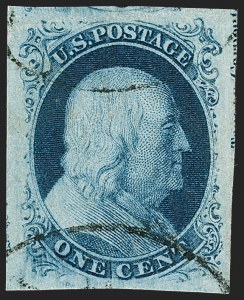 Sale Number 1231, Lot Number 19, 1851-56 Issue (Scott 5-17)1c Blue, Ty. III (8), 1c Blue, Ty. III (8)