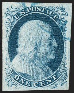 Sale Number 1231, Lot Number 20, 1851-56 Issue (Scott 5-17)1c Blue, Ty. IIIa (8A), 1c Blue, Ty. IIIa (8A)