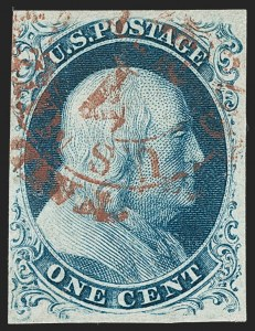 Sale Number 1231, Lot Number 21, 1851-56 Issue (Scott 5-17)1c Blue, Ty. IIIa (8A), 1c Blue, Ty. IIIa (8A)