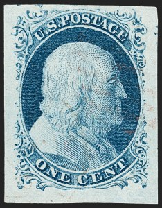 Sale Number 1231, Lot Number 22, 1851-56 Issue (Scott 5-17)1c Blue, Ty. IV (9), 1c Blue, Ty. IV (9)