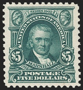 Sale Number 1231, Lot Number 231, 1902-08 Issues (Scott 300-319)$5.00 Dark Green (313), $5.00 Dark Green (313)