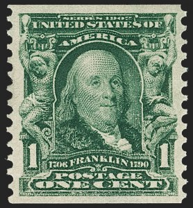 Sale Number 1231, Lot Number 235, 1902-08 Issues (Scott 300-319)1c Blue Green, Coil (318), 1c Blue Green, Coil (318)