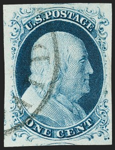 Sale Number 1231, Lot Number 24, 1851-56 Issue (Scott 5-17)1c Blue, Ty. IV (9), 1c Blue, Ty. IV (9)