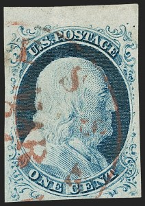 Sale Number 1231, Lot Number 25, 1851-56 Issue (Scott 5-17)1c Blue, Ty. IV (9), 1c Blue, Ty. IV (9)