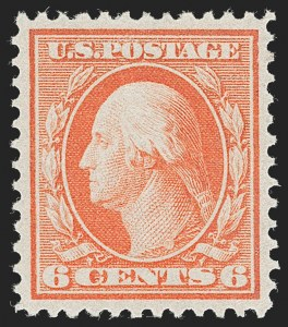 Sale Number 1231, Lot Number 273, 1909 Bluish Paper Issue (Scott 357-366)6c Red Orange, Bluish (362), 6c Red Orange, Bluish (362)