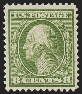 Sale Number 1231, Lot Number 274, 1909 Bluish Paper Issue (Scott 357-366)8c Olive Green, Bluish (363), 8c Olive Green, Bluish (363)