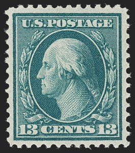 Sale Number 1231, Lot Number 276, 1909 Bluish Paper Issue (Scott 357-366)13c Bluish Green, Bluish (365), 13c Bluish Green, Bluish (365)