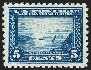 Sale Number 1231, Lot Number 313, 1913-15 Panama-Pacific Issue (Scott 397-404)5c Panama-Pacific, Perf 10 (403), 5c Panama-Pacific, Perf 10 (403)