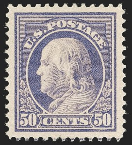 Sale Number 1231, Lot Number 334, 1912-14 Washington-Franklin Issue (Scott 405-423)50c Violet (422), 50c Violet (422)