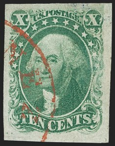 Sale Number 1231, Lot Number 34, 1851-56 Issue (Scott 5-17)10c Green, Ty. I (13), 10c Green, Ty. I (13)