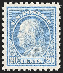 Sale Number 1231, Lot Number 349, 1913-15 Washington-Franklin Issues (Scott 424-461)20c Ultramarine (438), 20c Ultramarine (438)