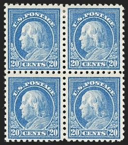 Sale Number 1231, Lot Number 350, 1913-15 Washington-Franklin Issues (Scott 424-461)20c Ultramarine (438), 20c Ultramarine (438)