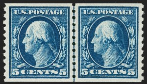 Sale Number 1231, Lot Number 365, 1913-15 Washington-Franklin Issues (Scott 424-461)5c Blue, Coil (447), 5c Blue, Coil (447)
