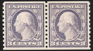 Sale Number 1231, Lot Number 381, 1913-15 Washington-Franklin Issues (Scott 424-461)3c Violet, Coil (456), 3c Violet, Coil (456)
