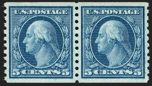 Sale Number 1231, Lot Number 383, 1913-15 Washington-Franklin Issues (Scott 424-461)5c Blue, Coil (458), 5c Blue, Coil (458)