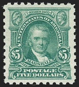 Sale Number 1231, Lot Number 409, 1916-17 Issues (Scott 462-480)$5.00 Light Green (480), $5.00 Light Green (480)