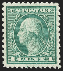Sale Number 1231, Lot Number 483, 1919-20 Issues (Scott 537-550)1c Green, Rotary Perf 11 x 10 (538), 1c Green, Rotary Perf 11 x 10 (538)