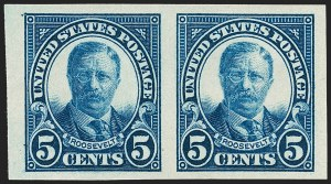 Sale Number 1231, Lot Number 501, 1922-38 Issues (Scott 553-634A)5c Dark Blue, Imperforate Pair (557a), 5c Dark Blue, Imperforate Pair (557a)
