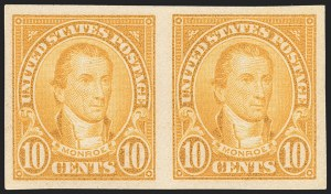 Sale Number 1231, Lot Number 505, 1922-38 Issues (Scott 553-634A)10c Orange, Imperforate Pair (562b), 10c Orange, Imperforate Pair (562b)