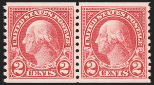 Sale Number 1231, Lot Number 533, 1922-38 Issues (Scott 553-634A)2c Carmine, Ty. I, Coil (599), 2c Carmine, Ty. I, Coil (599)