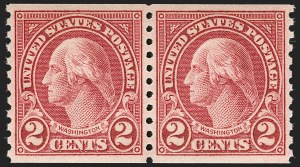 Sale Number 1231, Lot Number 534, 1922-38 Issues (Scott 553-634A)2c Carmine, Ty. II, Coil (599A), 2c Carmine, Ty. II, Coil (599A)
