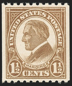 Sale Number 1231, Lot Number 539, 1922-38 Issues (Scott 553-634A)1-1/2c Yellow Brown, Coil (605), 1-1/2c Yellow Brown, Coil (605)
