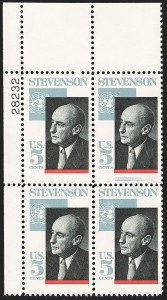 Sale Number 1231, Lot Number 594, Modern Errors5c Adlai Stevenson, Engraved Blue Omitted (1275 var), 5c Adlai Stevenson, Engraved Blue Omitted (1275 var)