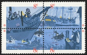 Sale Number 1231, Lot Number 601, Modern Errors8c Boston Tea Party, Black Engraved Omitted (1483b), 8c Boston Tea Party, Black Engraved Omitted (1483b)