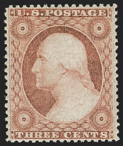 Sale Number 1232, Lot Number 1082, 1851-60 Issues (Scott 5-47)3c Dull Red, Ty. III (26). Mint N.H, 3c Dull Red, Ty. III (26). Mint N.H